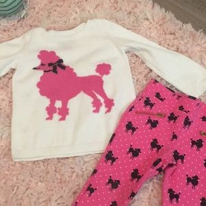 Very cute poodle sweater with pants.
